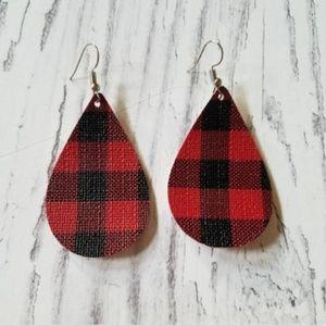Buffalo Plaid faux leather Teardrop Earrings
